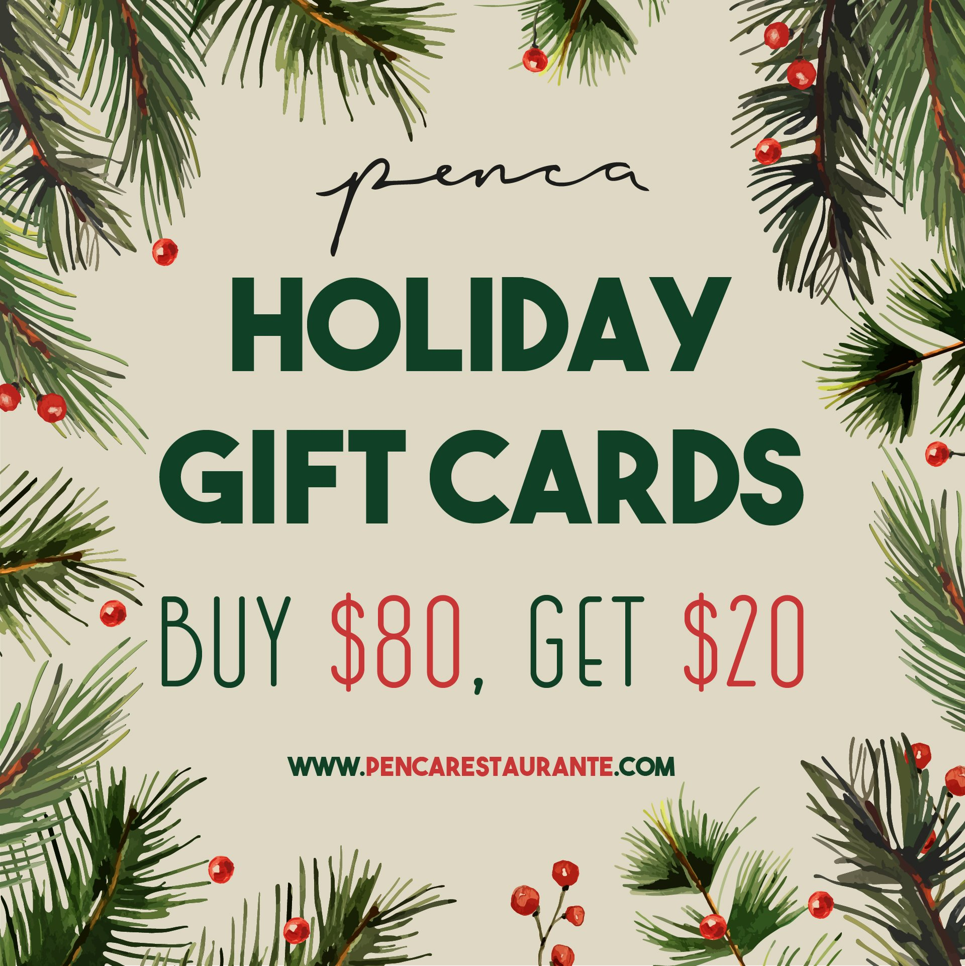 Penca Holiday Gift Card sale
